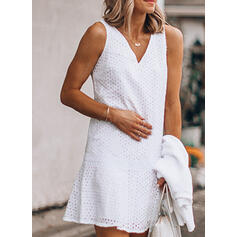 Lace/Solid Sleeveless Sheath Above Knee Casual/Vacation Tank Dresses