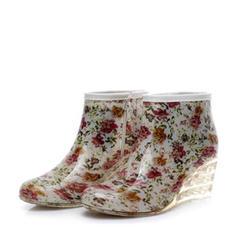 Femmes PVC Talon compensé Compensée Bottes Bottes de pluie chaussures