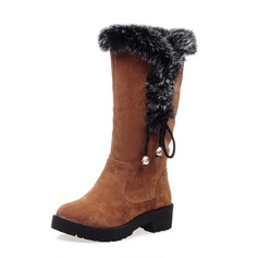 Women's Suede Chunky Heel Mid-Calf Boots Snow Boots With Faux-Fur Braided Strap shoes