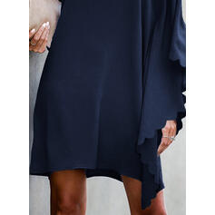 Solid Long Sleeves/Batwing Sleeves Shift Above Knee Little Black/Casual/Party Tunic Dresses