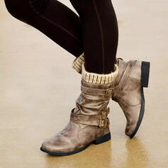 Women's PU Flat Heel Boots Mid-Calf Boots With Buckle shoes