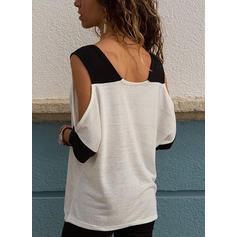 Egyszínű Kivágott vállú 1/2-es ujjú Hétköznapokra robić na drutach πουκαμίσες