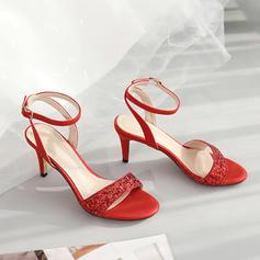 Vrouwen Sprankelende Glitter Microfiber leer Stiletto Heel Sandalen Pumps Peep Toe met Lovertje Sprankelende Glitter Gesp schoenen
