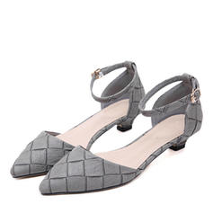 Women's Leatherette Low Heel Pumps Closed Toe With Buckle shoes