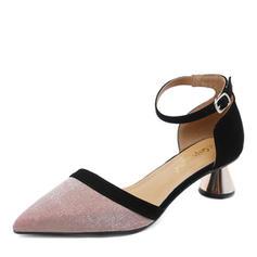 Mulheres PU Salto agulha Sandálias Bombas Fechados com Fivela sapatos