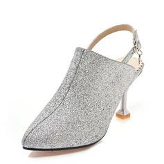 Mulheres Espumante Glitter Salto agulha Sandálias Bombas Fechados Sapatos abertos com Fivela sapatos