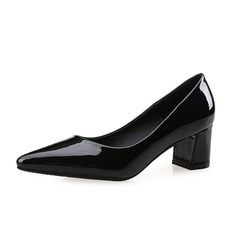 Women's Patent Leather Chunky Heel Pumps Closed Toe shoes