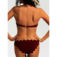 Solid Color Bandeau Strapless Sexy Cute Bikinis Swimsuits