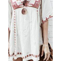 Imprimée Manches 3/4 Droite Au-dessus Du Genou Décontractée Tunique Robes