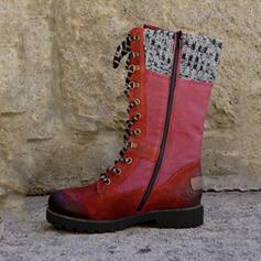 Vrouwen PU Low Heel Half-Kuit Laarzen Martin Boots met Rits Vastrijgen schoenen