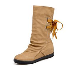 Femmes Similicuir Talon bas Bout fermé Bottes Bottes hautes Bottes mi-mollets avec Dentelle chaussures