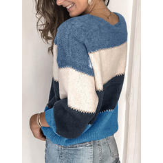 Color Block Ribbed Chunky knit Round Neck Sweaters