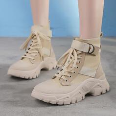 Kvinnor Äkta läder Kilklack Kilar Stövlar med Bandage skor