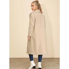 Μαλλί Μακρυμάνικο Πεδιάδα Μάλλινα παλτά