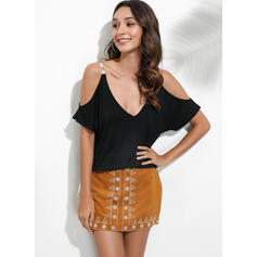 Solide Cold Shoulder Korte Mouwen Casual Blouses