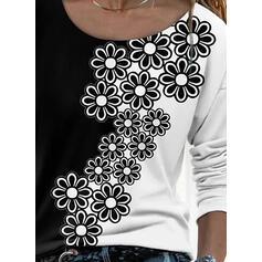 Kwiatowy Nadruk Okrągły dekolt Długie rękawy T-shirty