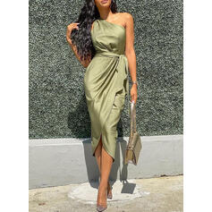 Solid Sleeveless Sheath Party Midi Dresses