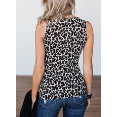 Leopardo Gola Redonda Sem Mangas Sexy Camisetas regata