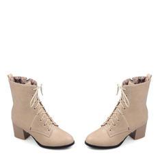 Femmes Similicuir Caoutchouc Talon bottier Bout fermé Bottes Bottes mi-mollets Martin bottes Bottes cavalières avec Dentelle chaussures