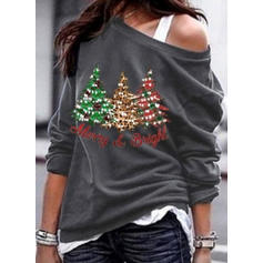 Print One Shoulder Lange Mouwen Casual Kerstmis T-shirts