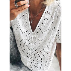 Solid Lace V-Neck Short Sleeves Button Up Casual Elegant Blouses