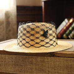 Ladies' Hottest Salty Straw With Tulle Straw Hats/Beach/Sun Hats