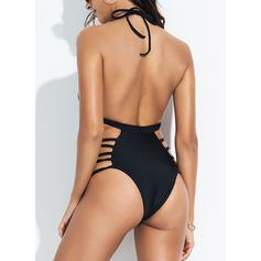 Jednobarevná V-krk Sexy Jednodílné Plavky