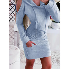 Solid Lange ærmer Bodycon Over knæet Casual Sweatshirt Kjoler