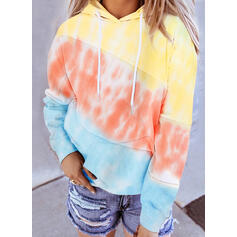 Color Block Tie dye kleurstof Lange Mouwen Hoodie
