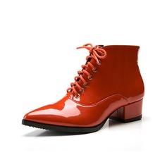 Femmes Cuir verni Talon bas Escarpins Bottines chaussures