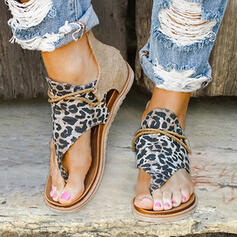 Women's Leatherette Fabric Flat Heel Sandals Flats Peep Toe With Animal Print Zipper shoes