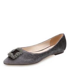 Donna Camoscio Senza tacco Ballerine Punta chiusa con Strass Fibbia scarpe