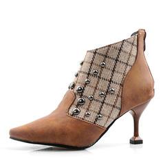 Women's Leatherette Stiletto Heel Ankle Boots With Rivet Zipper shoes