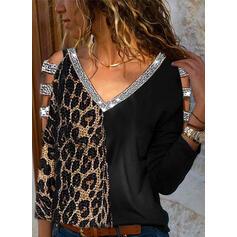 Paillettes leopardo Spalle esposte Maniche lunghe Casuale Sexy Camicie