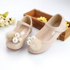Pentru fete Piele din Microfibră Fară Toc Deget rotund Încălţăminte pentru Domnişoara de Flori cu Şirag de Mărgele Imitaţie de Perlă Scai