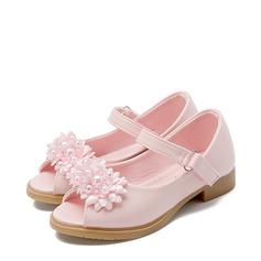 A menina de imitação de couro Heel plana Toe rodada Peep toe Sandálias com Beading Laço de cetim Velcro Flor