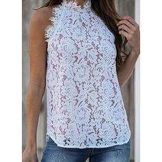 Solid Lace Stand collar Sleeveless Casual Tank Tops