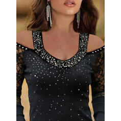 Lace Sequins Cold Shoulder Long Sleeves Elegant Knit Blouses