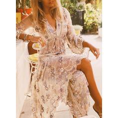 Broderie/Fleurie Manches 3/4 Fourreau Vacances Midi Robes