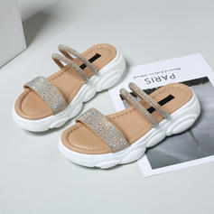Women's PU Flat Heel Sandals Flats Platform Slippers With Crystal Others shoes