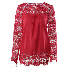 Lace Round Neck Long Sleeves Casual Blouses