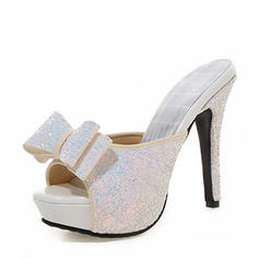 Women's Sparkling Glitter Stiletto Heel Sandals Pumps Platform Slippers With Bowknot shoes