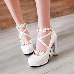 De mujer Cuero Tacón stilettos Salón Plataforma Cerrados Botas sobre la rodilla con Rhinestone Rivet Flor zapatos