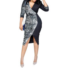 Sequins/Patchwork Long Sleeves Sheath Midi Sexy/Party Dresses
