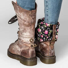 Frauen PU Niederiger Absatz Stiefel mit Zuschnüren Schuhe