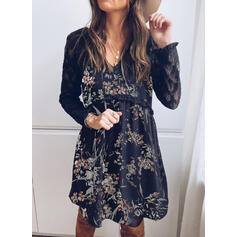Lace/Print/Floral Long Sleeves Shift Knee Length Elegant Tunic Dresses