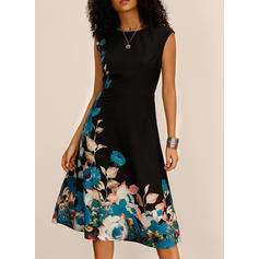 Print/Floral Sleeveless A-line Midi Casual/Party Dresses