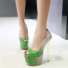 Dla kobiet Skóra ekologiczna Obcas Stiletto Platforma Otwarty Nosek Buta obuwie