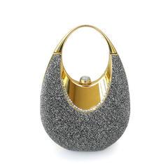 Luminoso Metal com Porpurina Bolsa de Pulso/Porta Moedas de Noiva