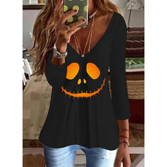 halloween Impresión Cuello en V Mangas 3/4 Camisetas